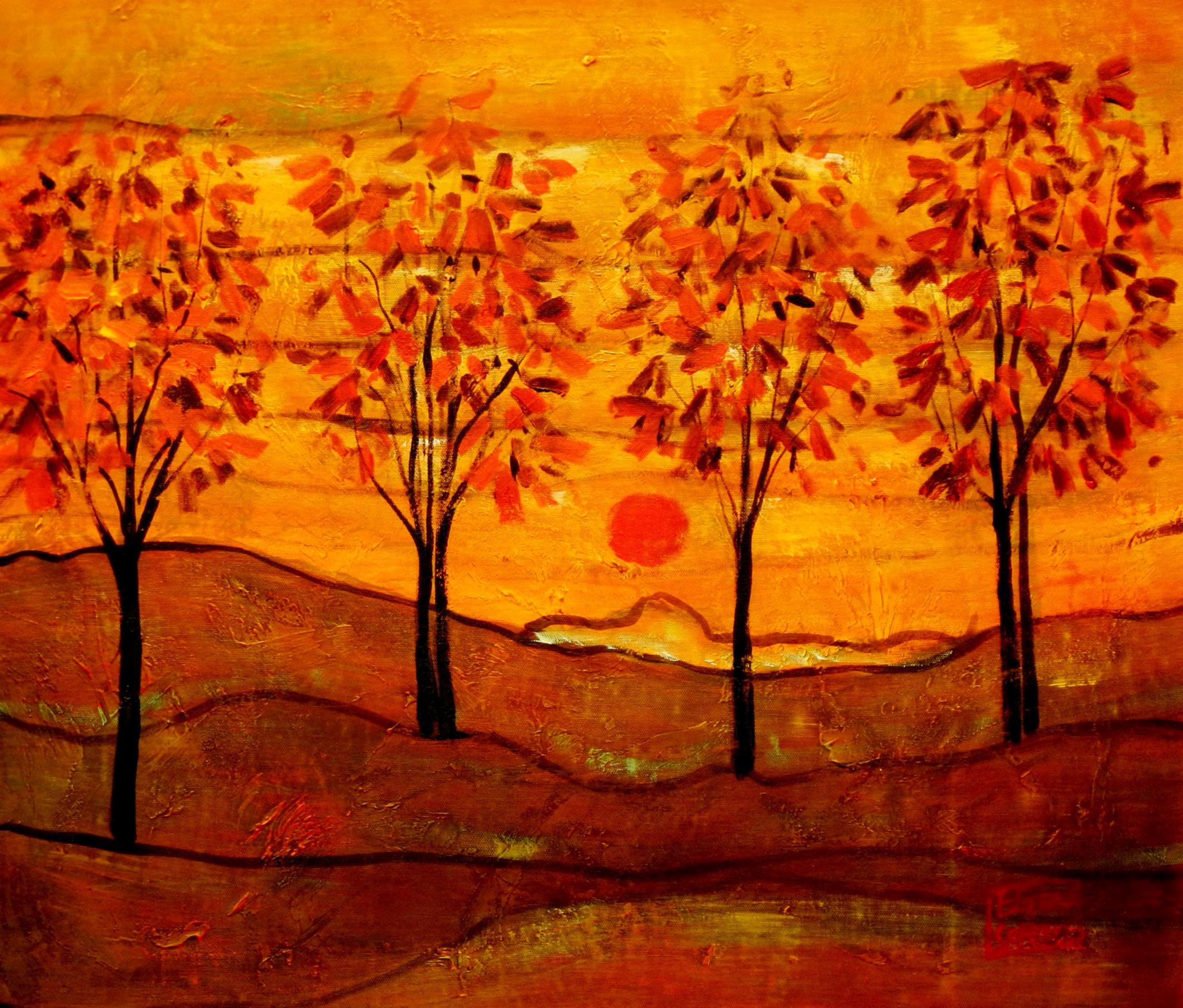 Egon Schiele - Vier Bäume c94206 50x60cm exzellentes Ölbild