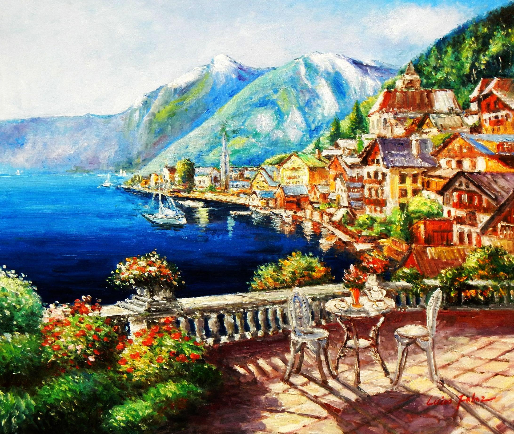 Hotelterrasse mit Meeresblick c94218 50x60cm abstraktes Gemälde handgemalt