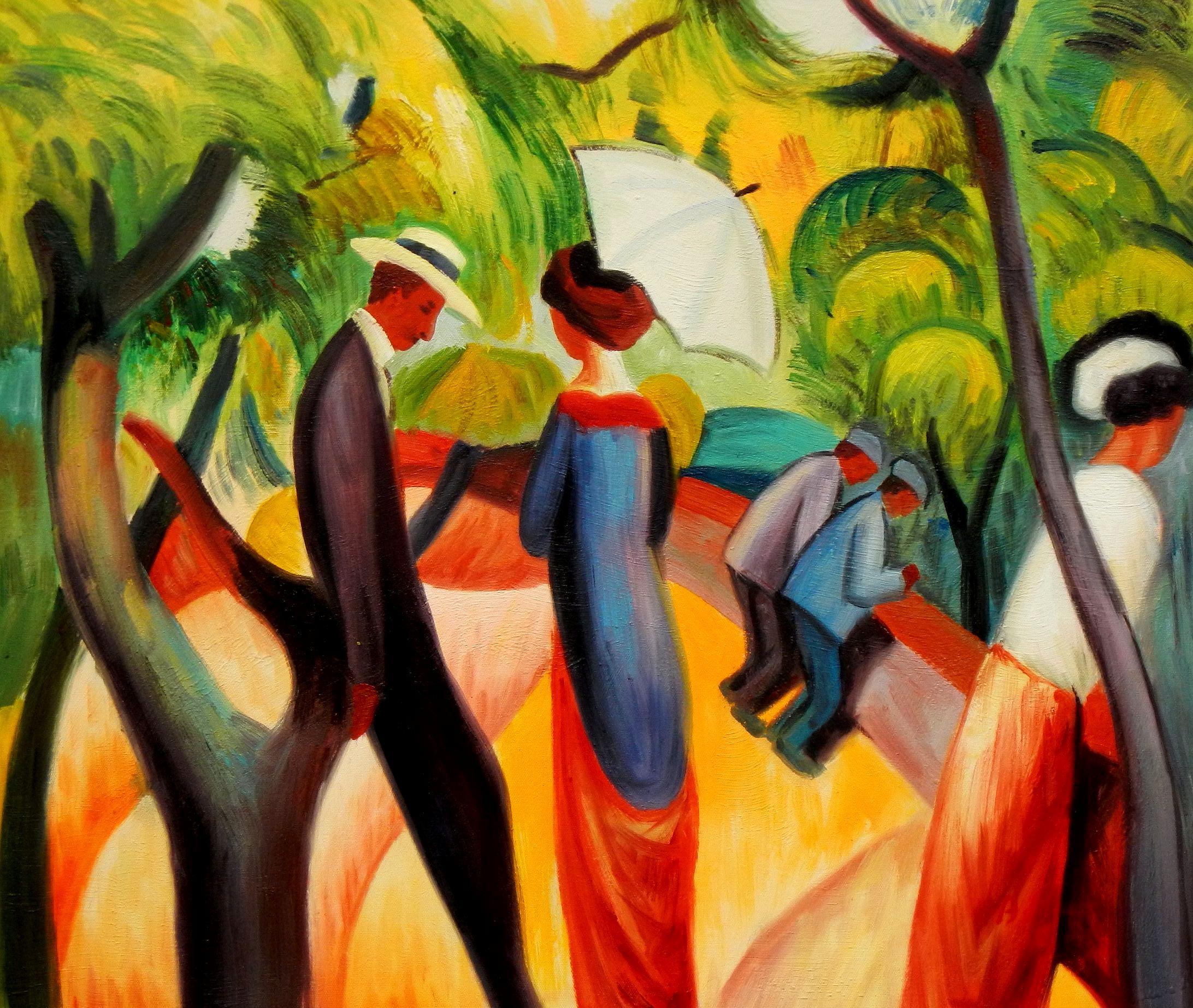 August Macke - Promenade 1913 c94222 50x60cm Expressionismus Ölgemälde handgemalt