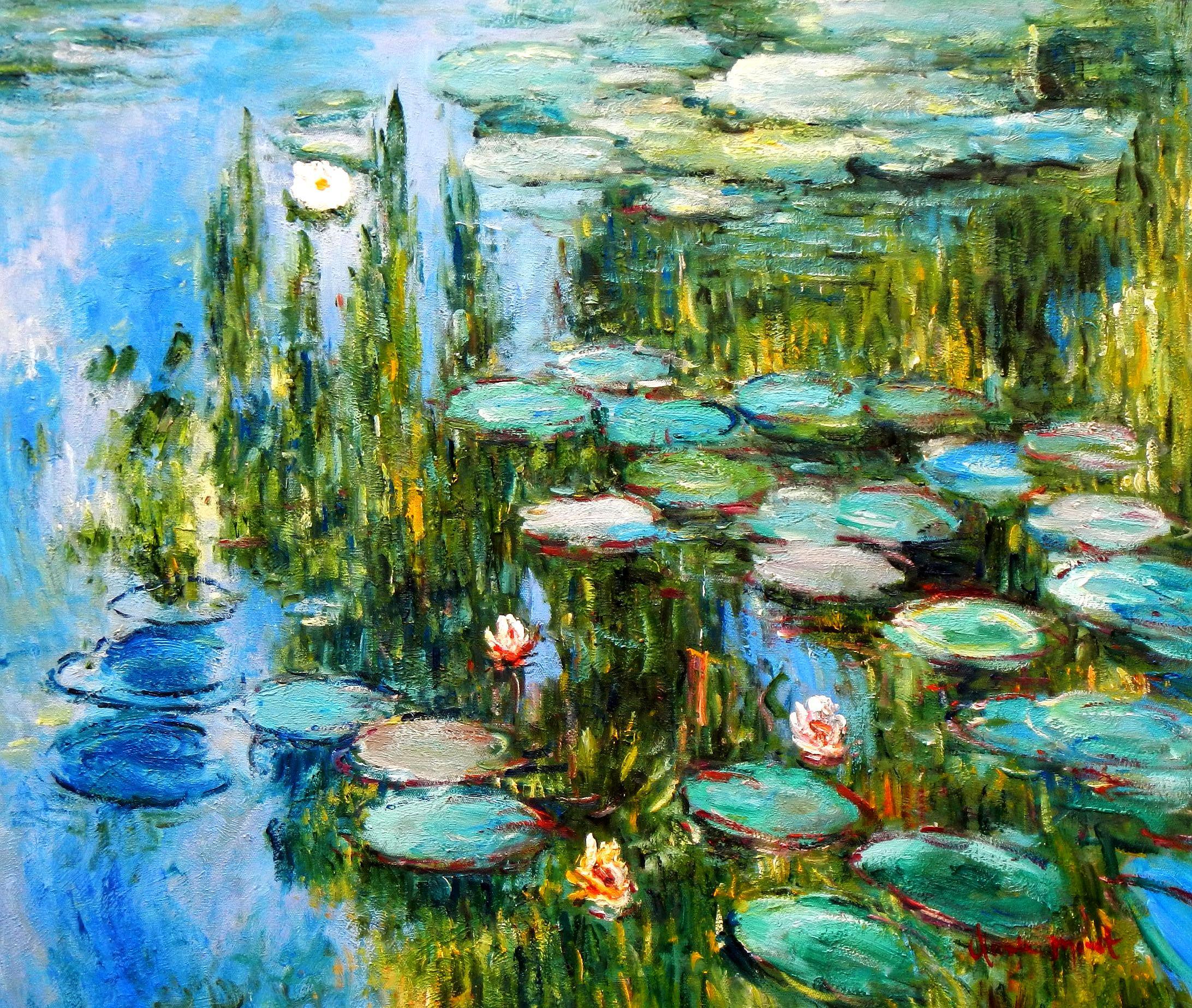 Claude Monet - Seerosen im Frühling c94227 50x60cm Ölgemälde handgemalt