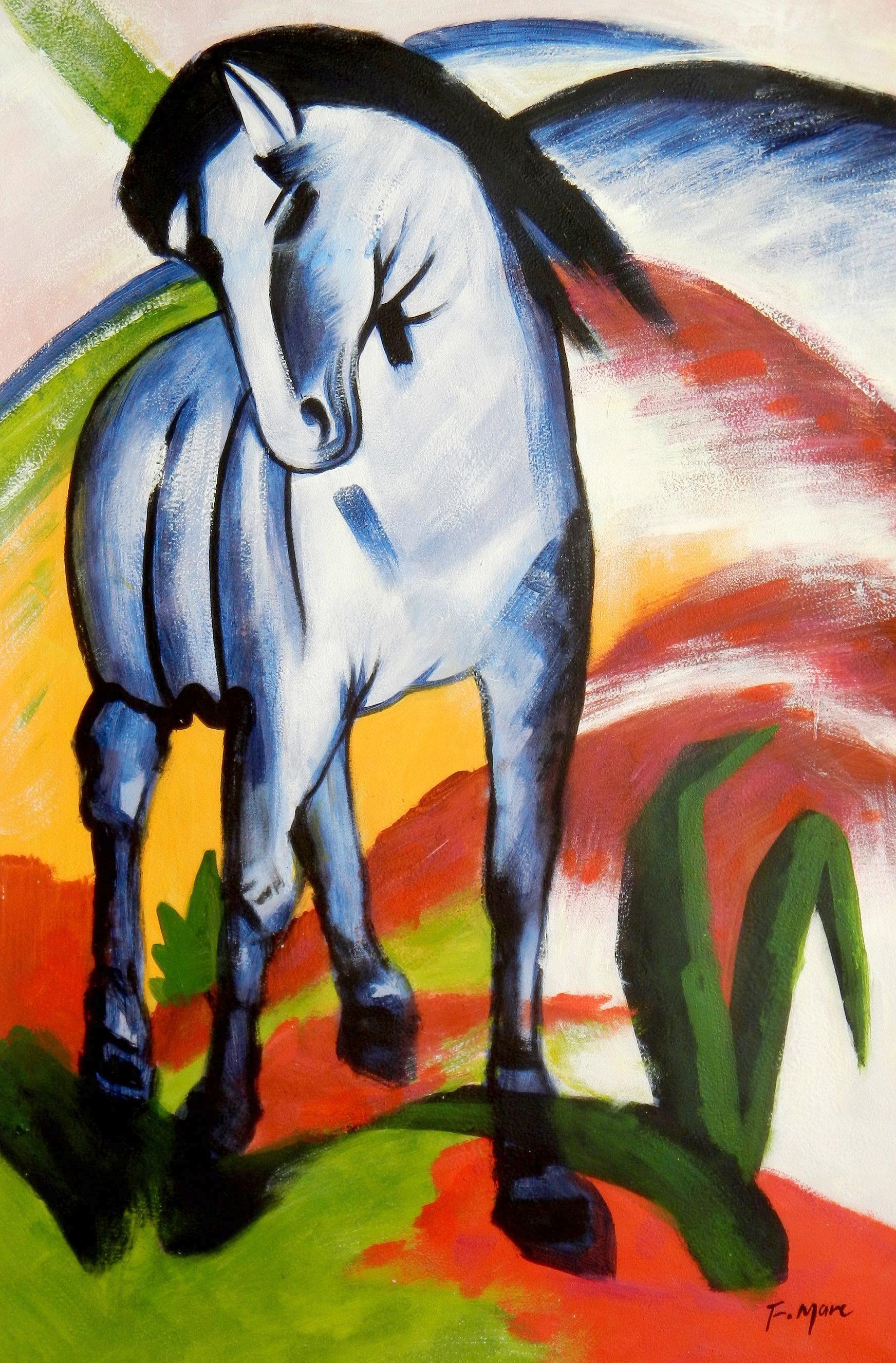 Franz Marc - Blaues Pferd d94240 60x90cm Expressionismus Ölgemälde