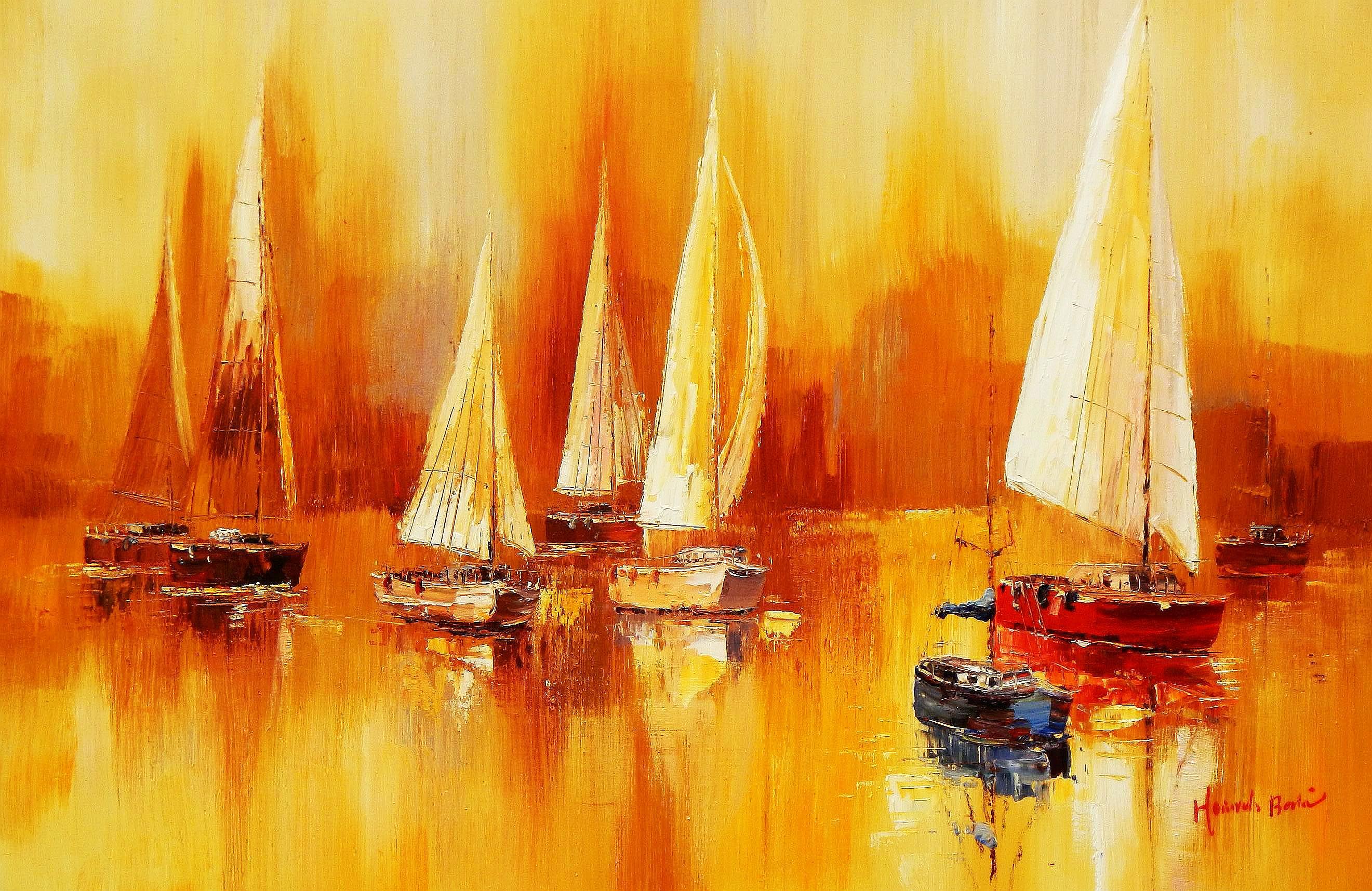 Segelboote auf dem Gardasee d94259 60x90cm modernes Gemälde handgemalt