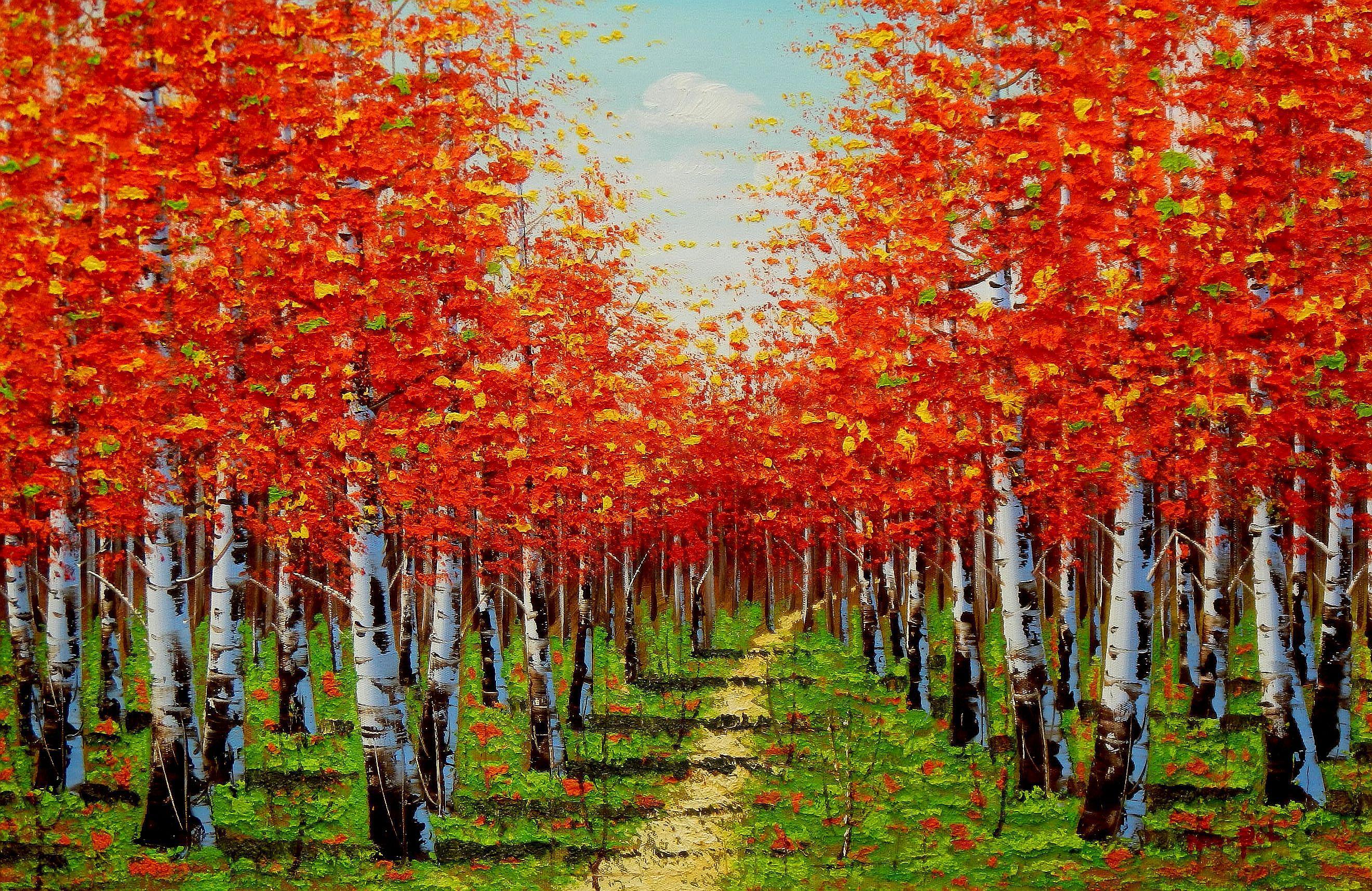 Modern Art - Birkenweg im Herbst d94261 60x90cm exzellentes Ölbild handgemalt