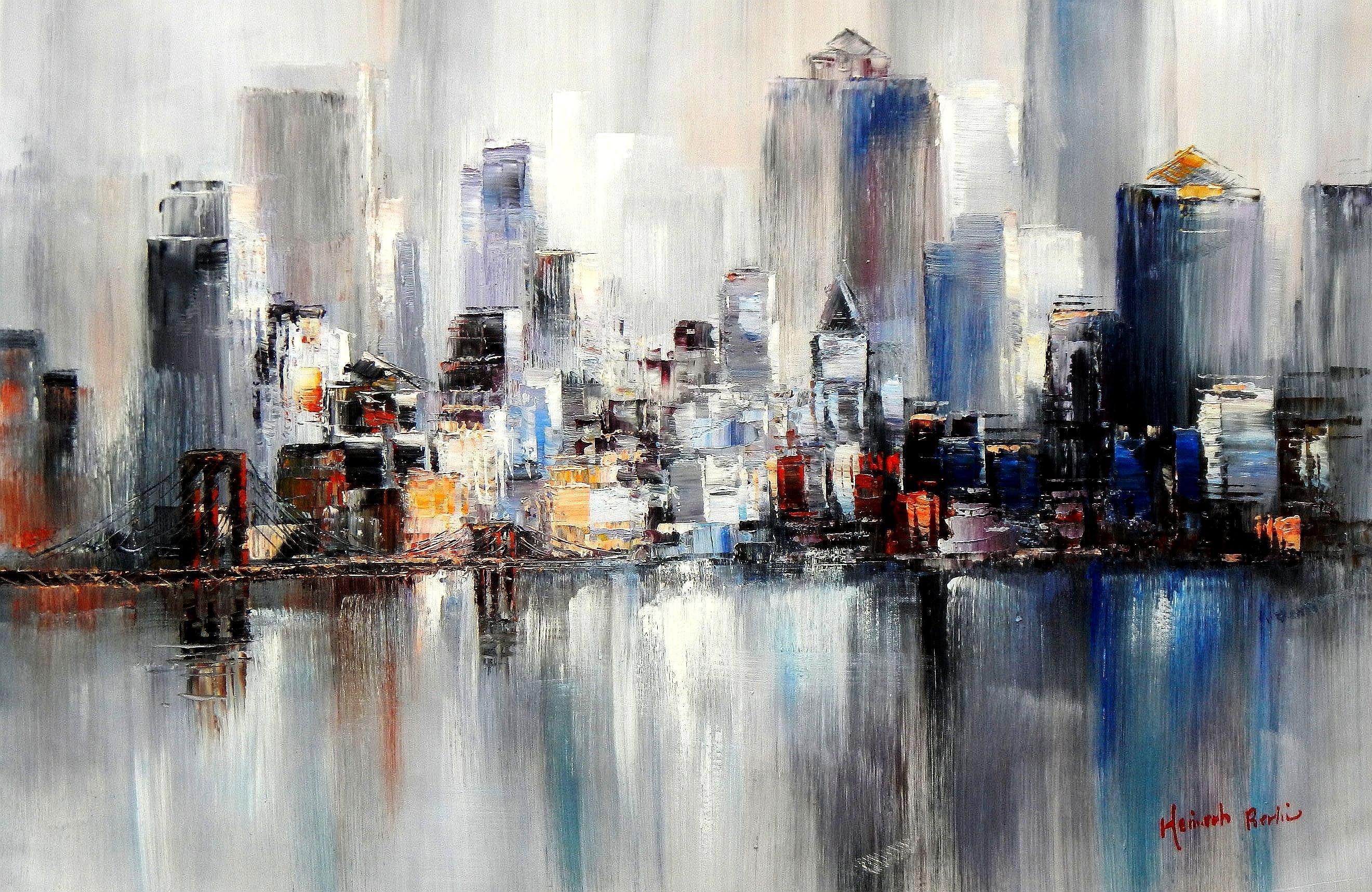 Abstrakt New York Manhattan Skyline im Winter d94267 60x90cm Gemälde handgemalt
