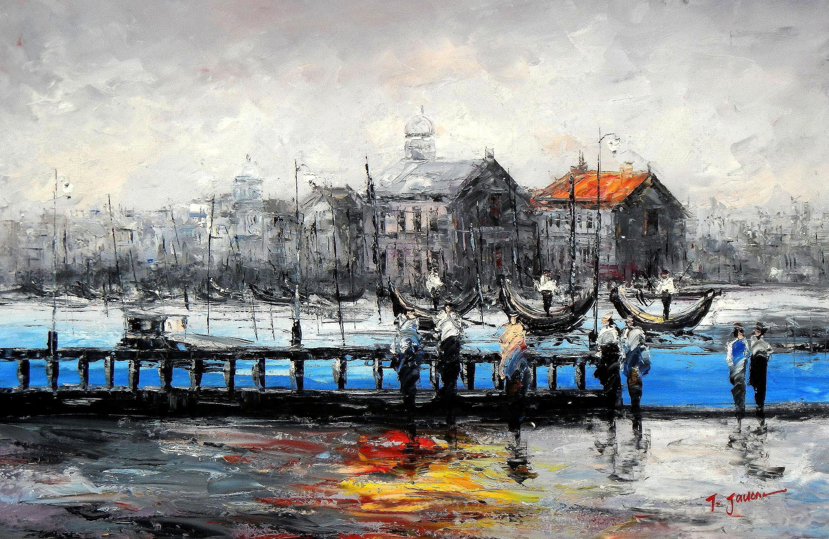 Modern Art - Venedig im Morgengrauen d94272 60x90cm bemerkenswertes Ölbild