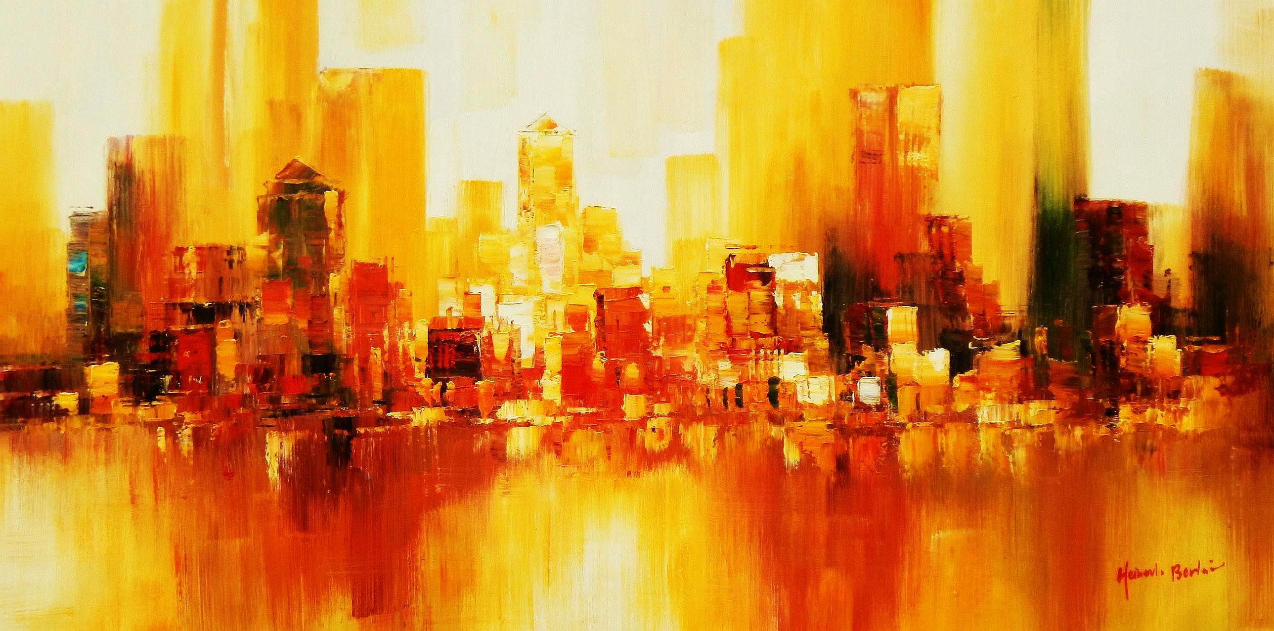 Abstrakt New York Manhattan Skyline im Herbst f94314 60x120cm abstraktes Ölbild