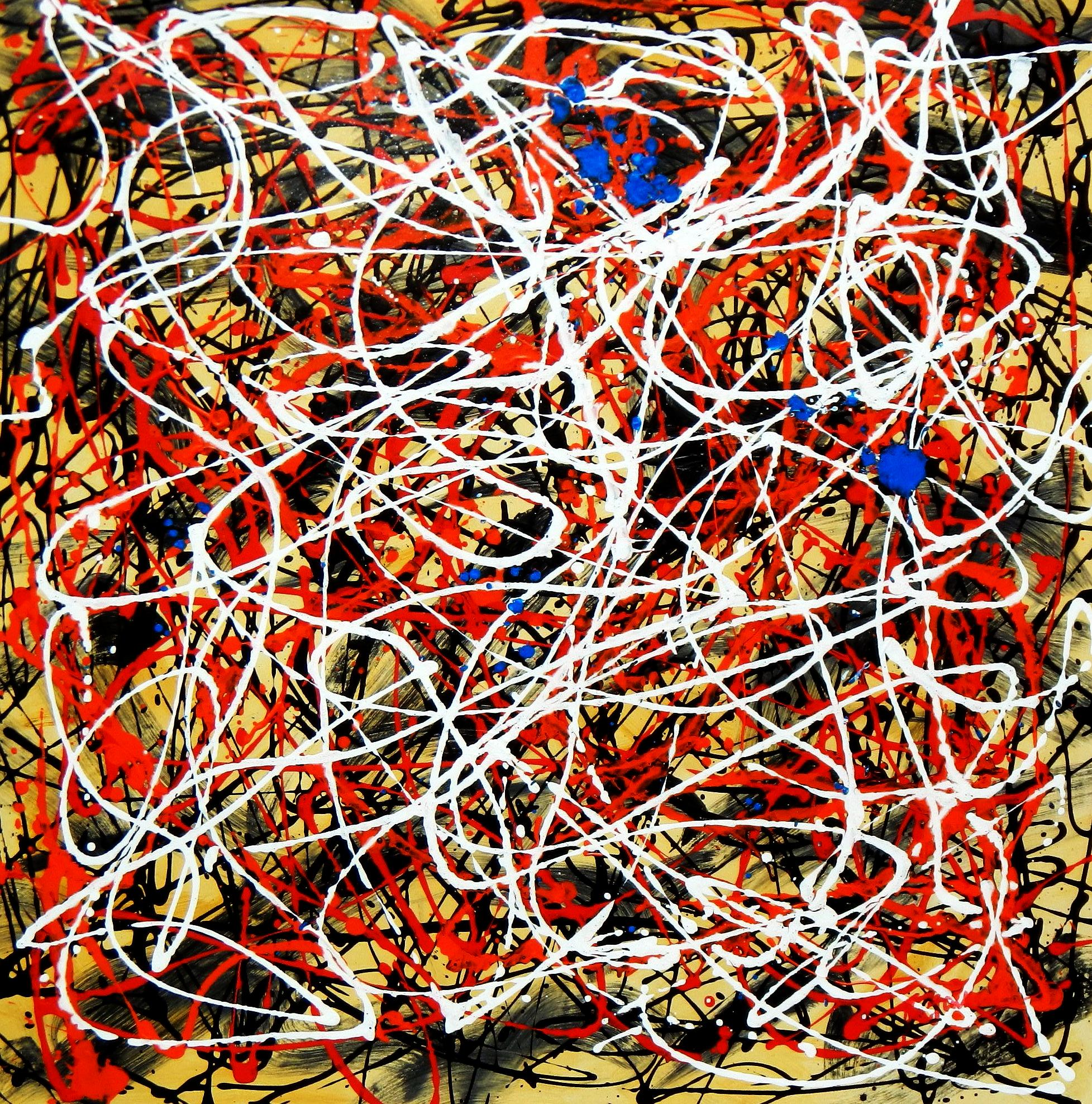 Homage of Pollock - Number 2 g94323 80x80cm abstraktes Ölbild