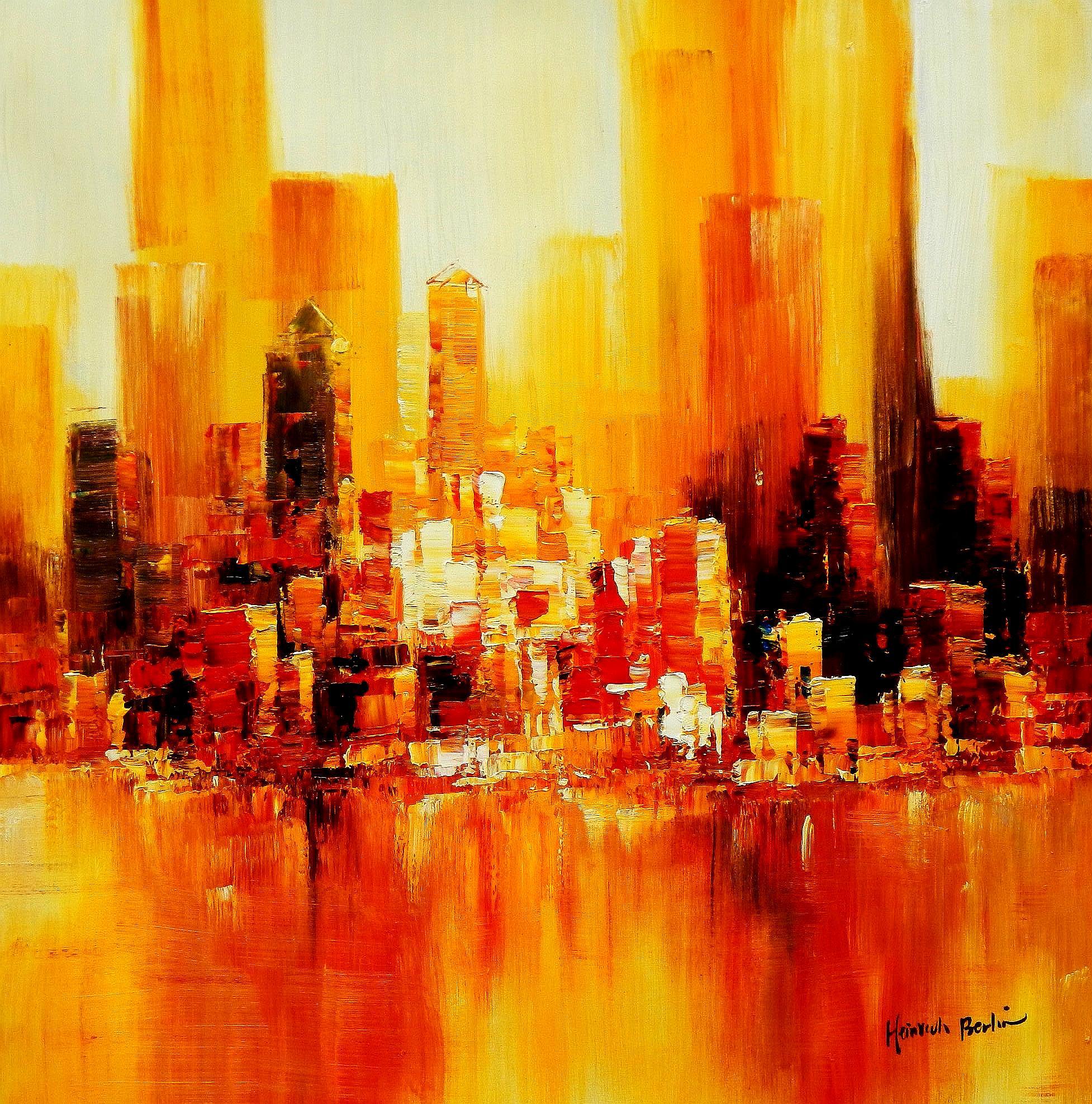 Abstrakt New York Manhattan Skyline im Herbst g94380 80x80cm abstraktes Ölbild