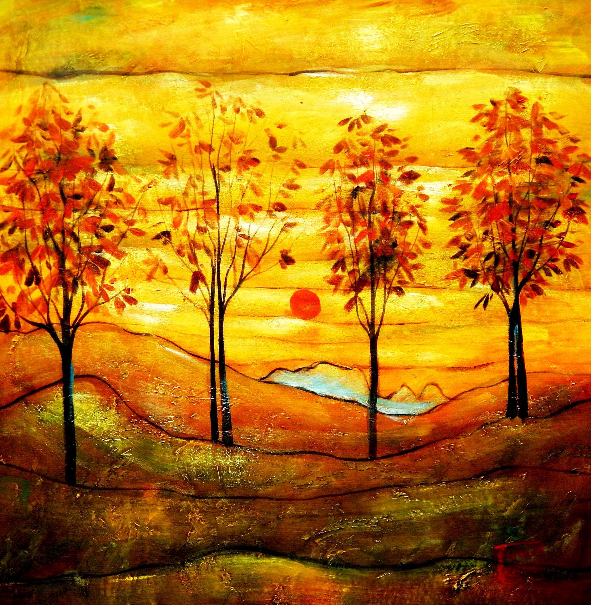 Egon Schiele - Vier Bäume g94390 80x80cm exzellentes Ölbild
