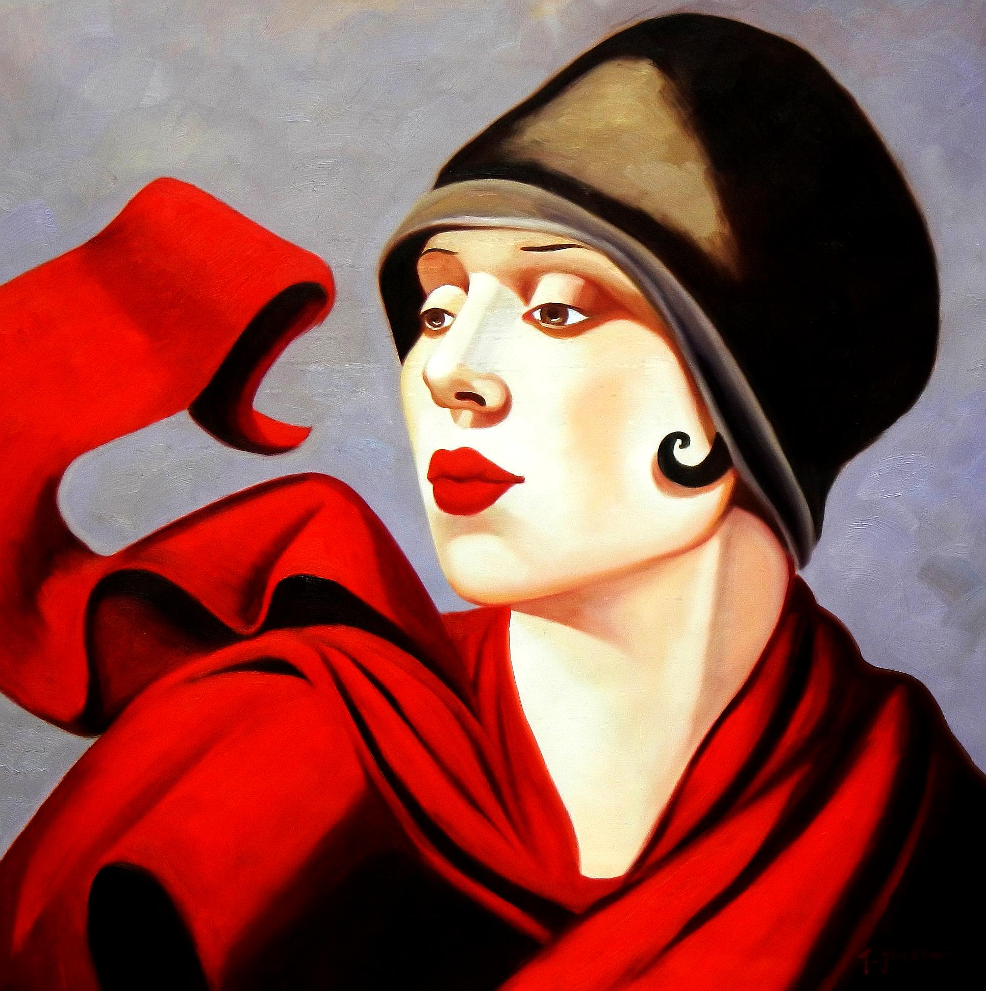 Homage of T. de Lempicka - Frau mit rotem Schal g94393 G 80x80cm exzellentes Ölbild