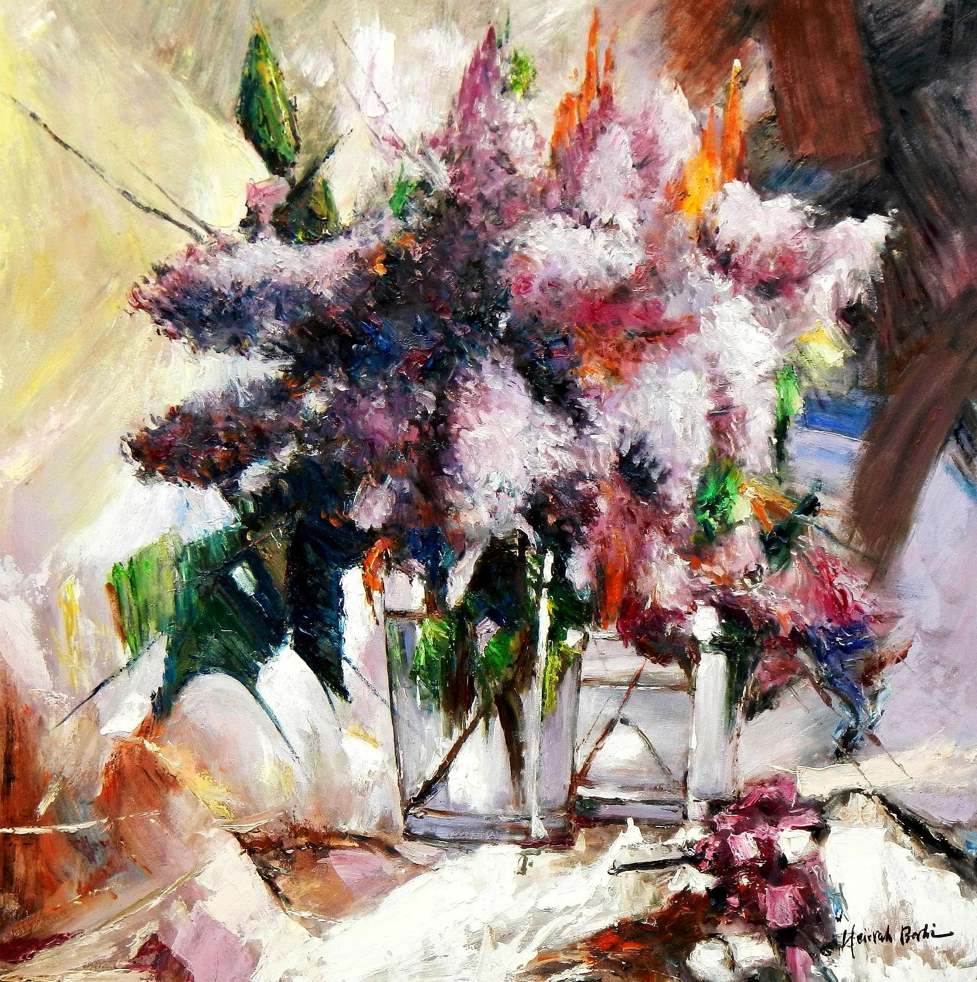 Modern Abstrakt - Vase mit bunten Blumen g94398 80x80cm abstraktes Ölbild handgemalt