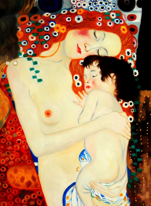 Gustav Klimt - Mutter mit Kind i94410 80x110cm Jugendstil Ölgemälde handgemalt