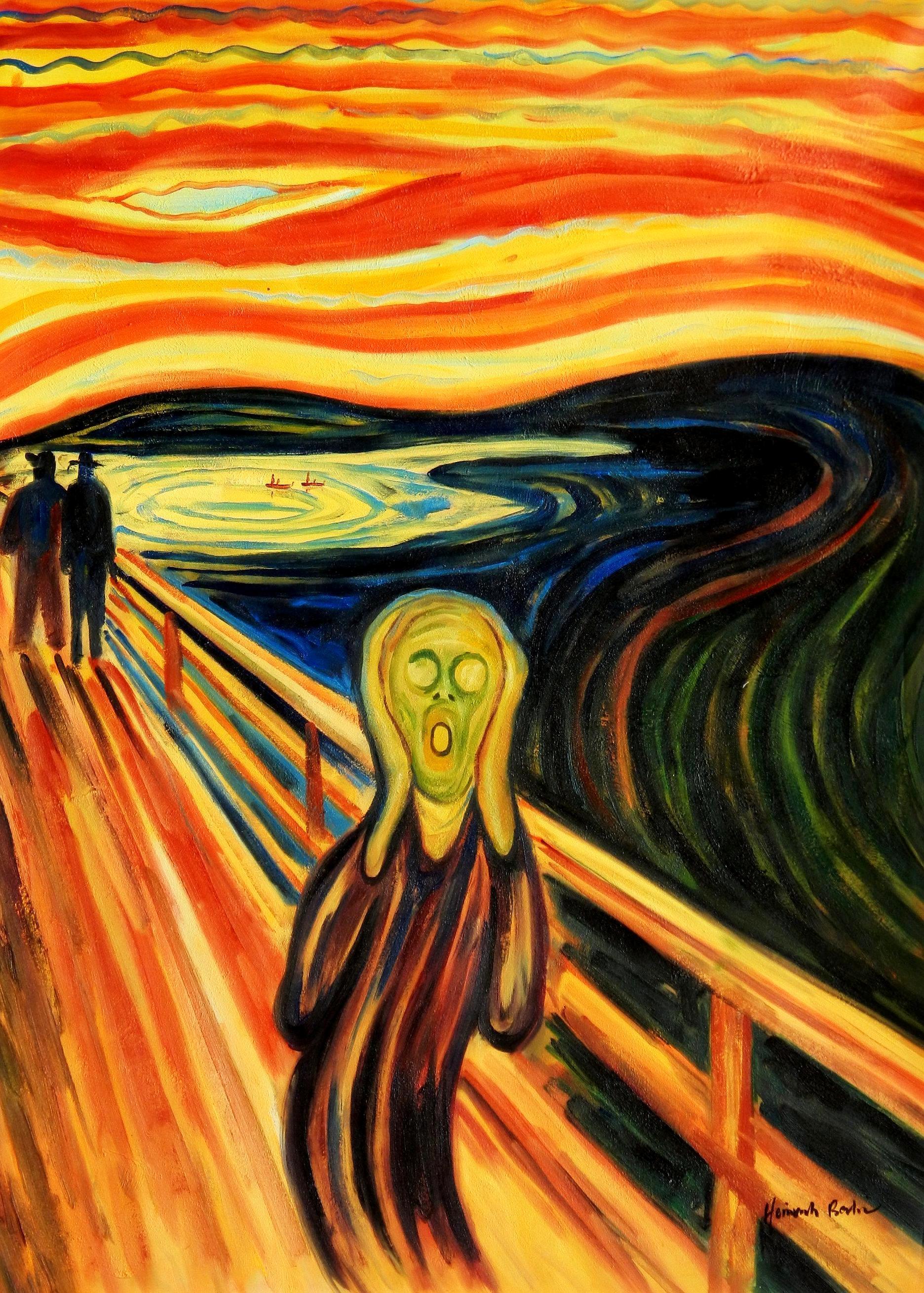 Edvard Munch - Der Schrei i94414 80x110cm handgemaltes Ölgemälde
