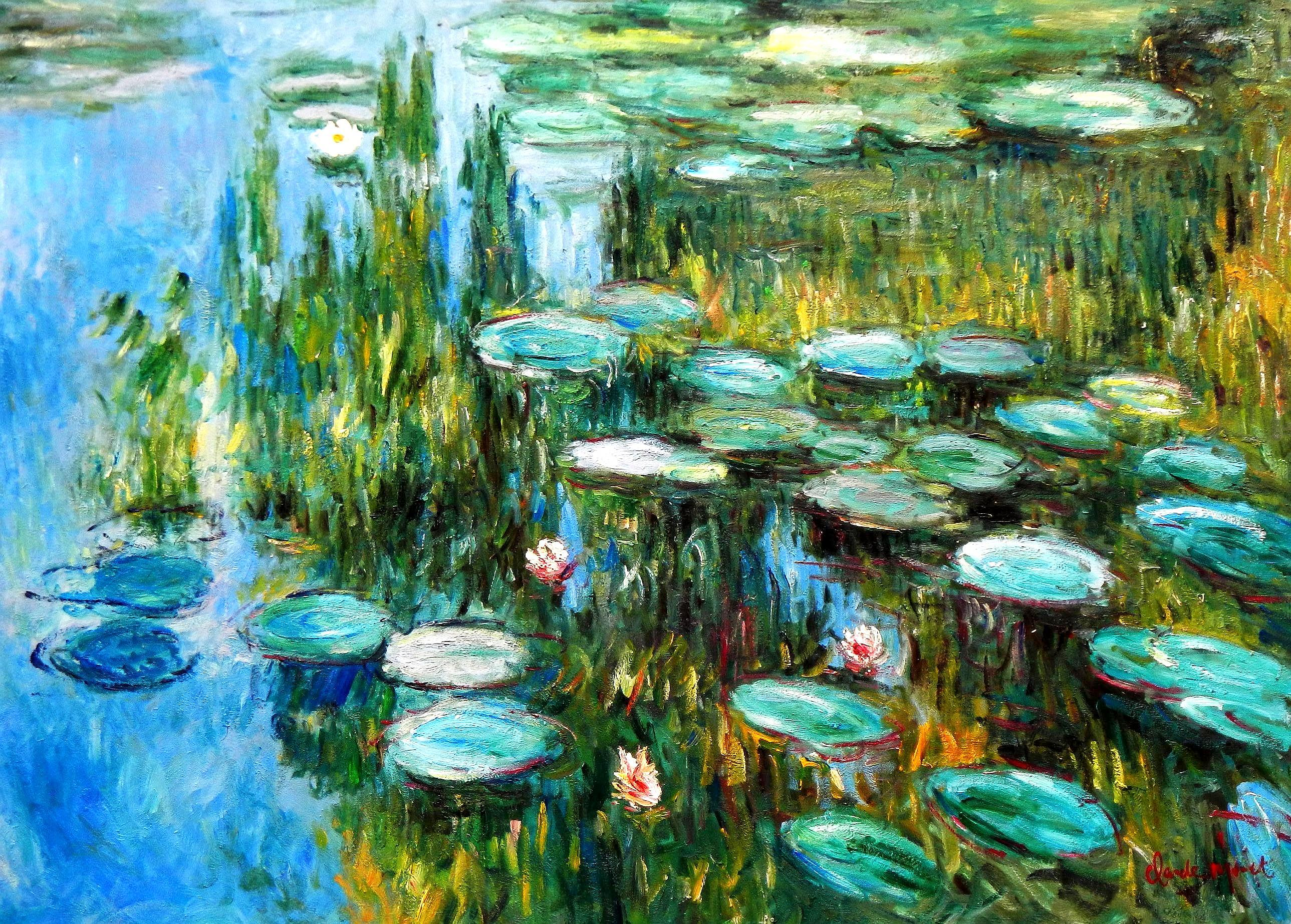 Claude Monet - Seerosen im Frühling i94421 80x110cm Ölgemälde handgemalt