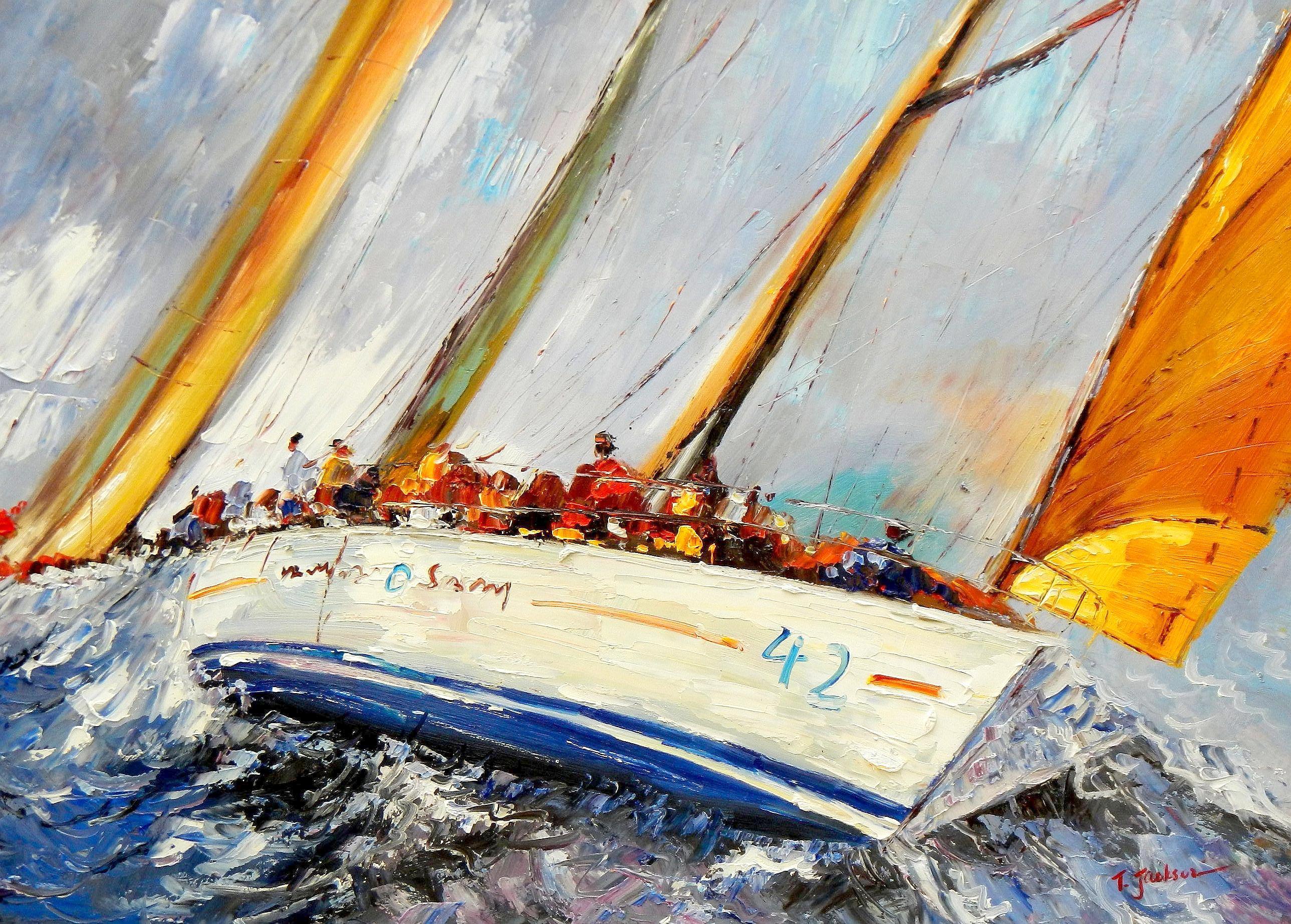 Modern Art - Segelregatta vor Helgoland i94427 80x110cm Ölbild handgemalt