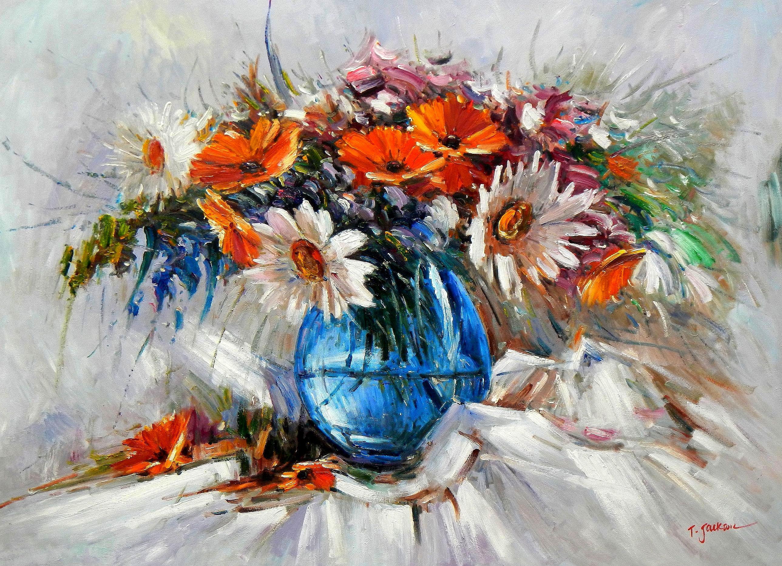 Modern Abstrakt - Vase mit bunten Blumen i94435 80x110cm abstraktes Ölbild handgemalt