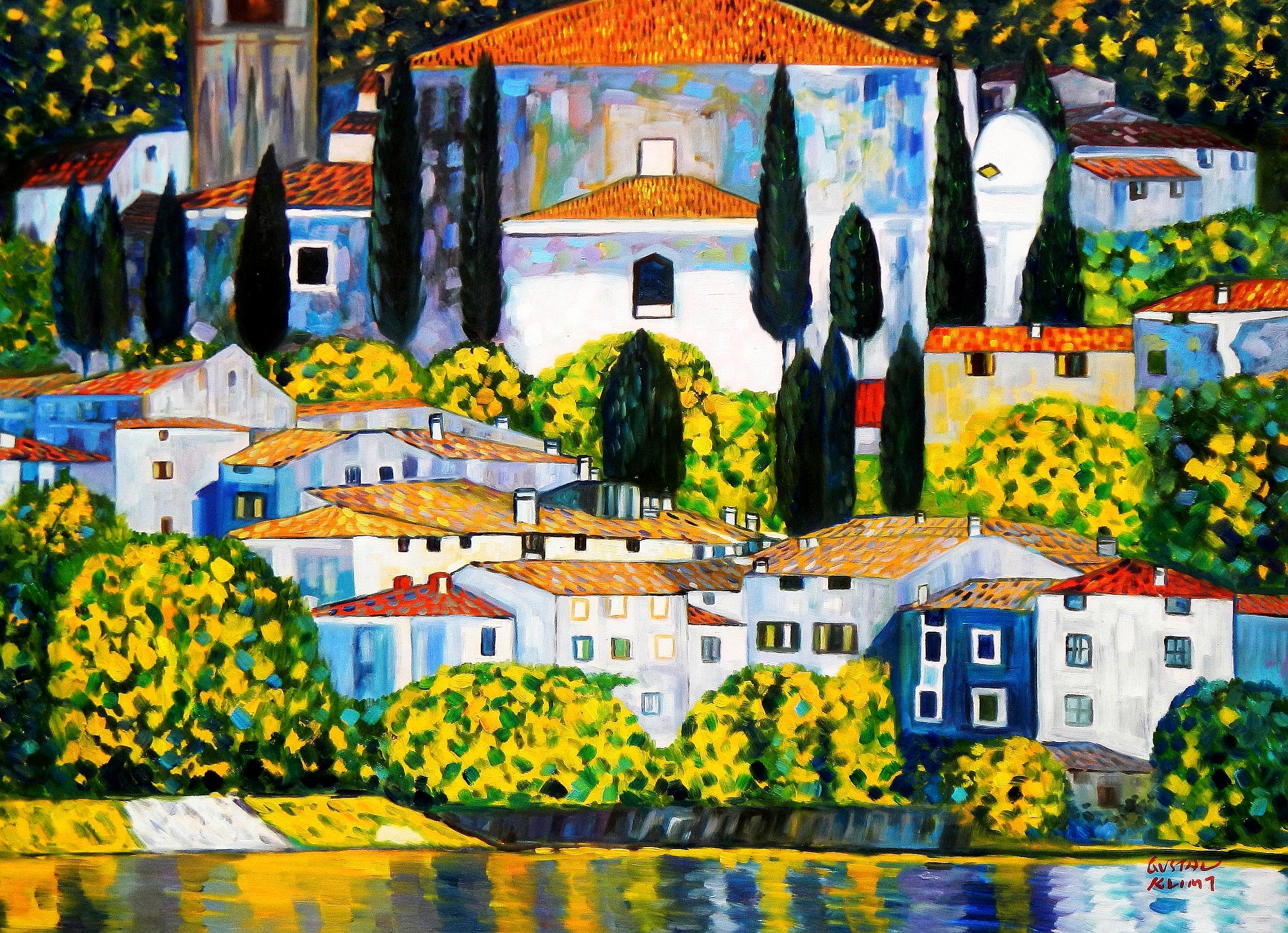 Gustav Klimt - Kirche in Cassone i94441 80x110cm Ölgemälde handgemalt