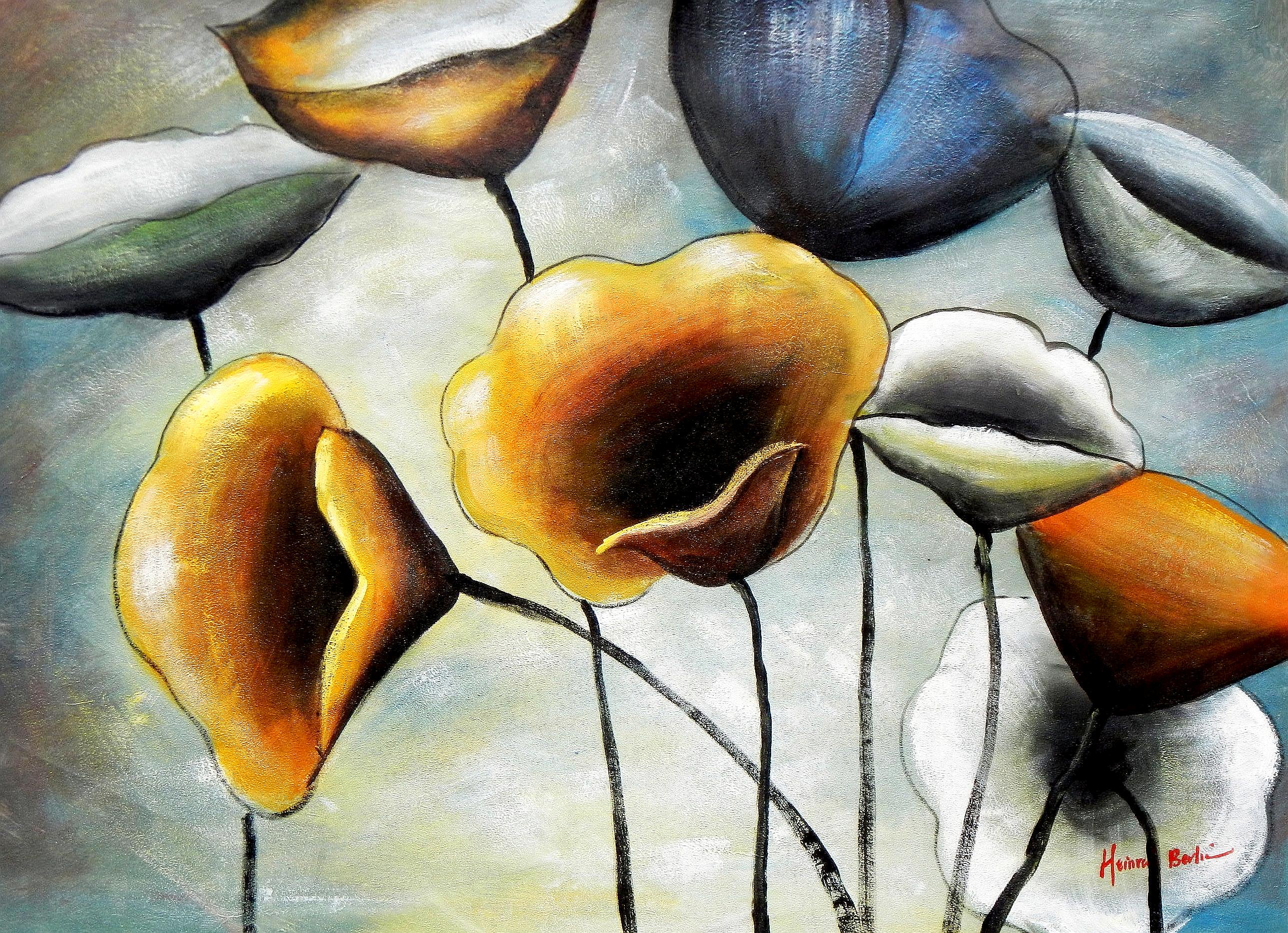 Abstrakt Modern Art - Der Blumentanz i94443 80x110cm Ölgemälde ...