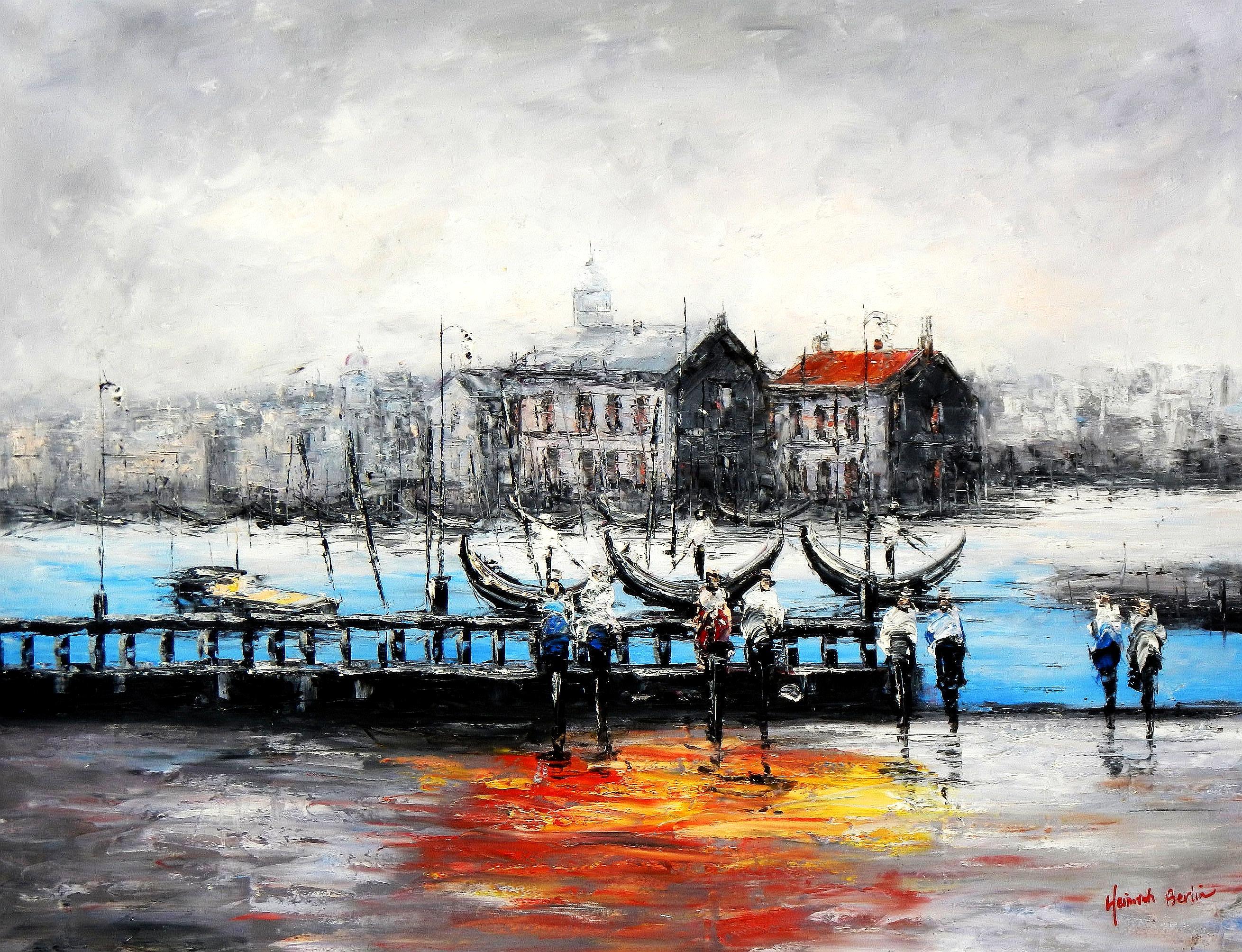 Modern Art - Venedig im Morgengrauen k94450 90x120cm bemerkenswertes Ölbild