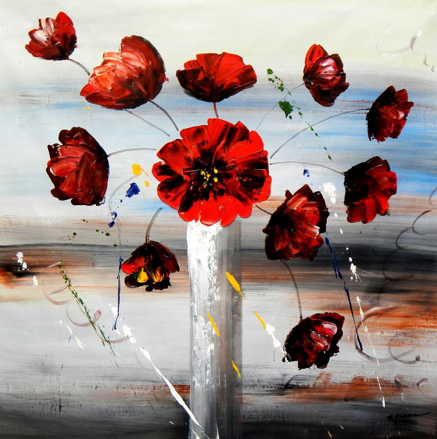 Modern Art - Buntes Blumenvasen Stillleben m94470 120x120cm modernes Ölgemälde