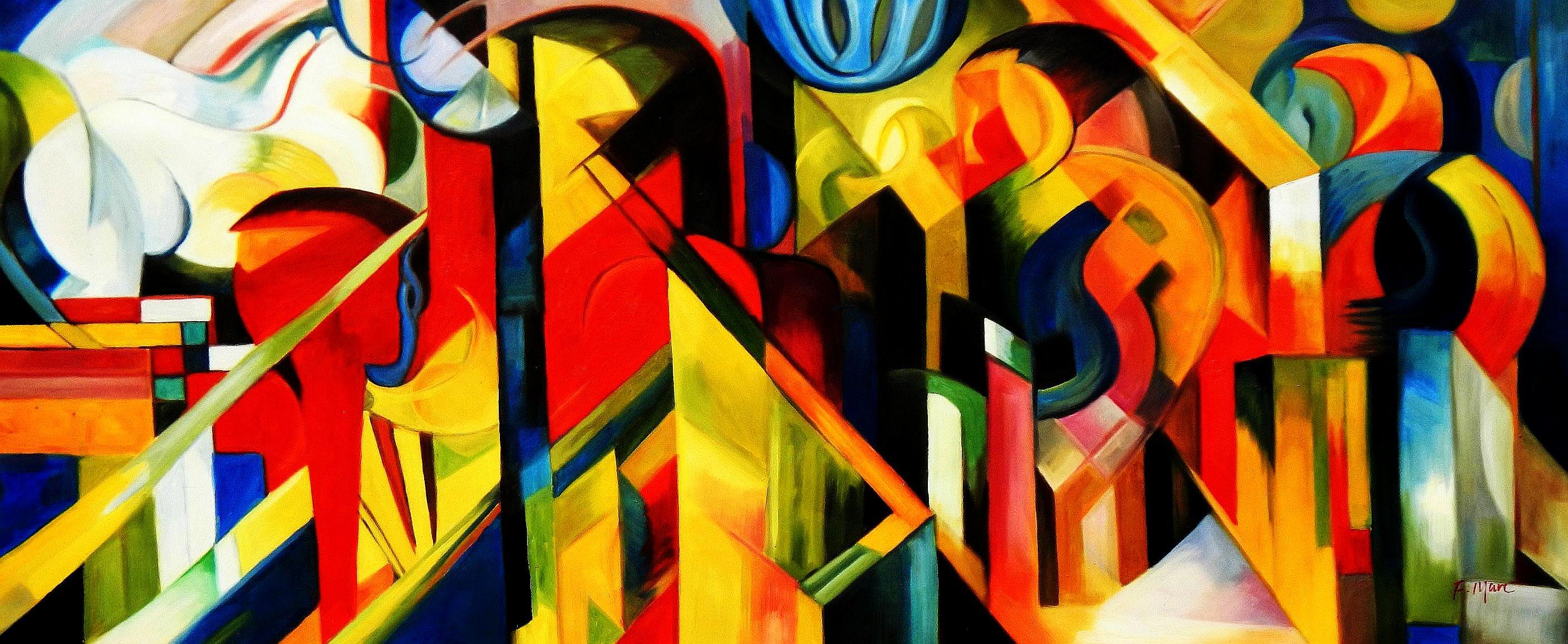 Franz Marc - Stallungen t94484 G 75x180cm Expressionismus Ölgemälde handgemalt