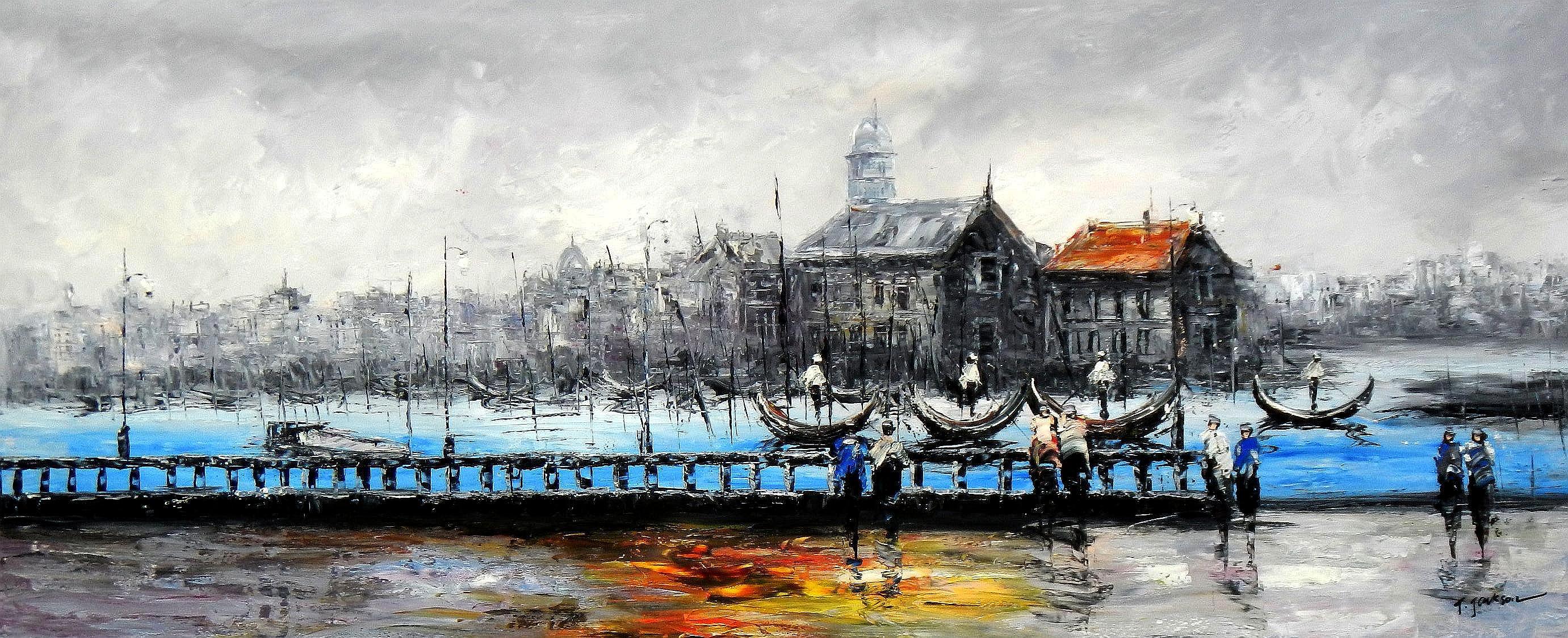 Modern Art - Venedig im Morgengrauen t94492 75x180cm bemerkenswertes Ölbild