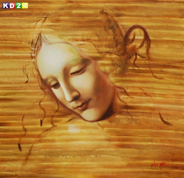 Leonardo da Vinci - Frauenkopf g88176 80x80cm exzellentes Ölbild