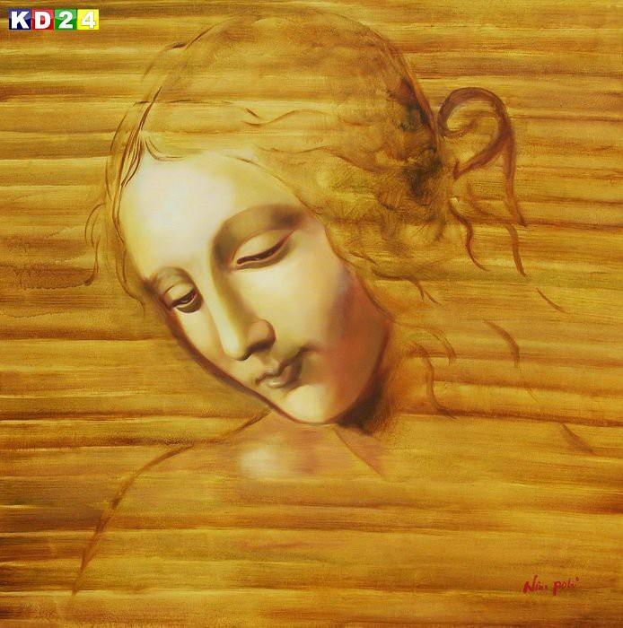 Leonardo da Vinci - Frauenkopf g88177 80x80cm exzellentes Ölbild